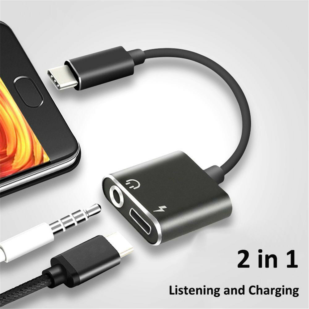 Type C To 3.5 Mm Earphone Jack Adapter 2 In 1 USB C Audio Cable Converter Charging Splitter Headphone Adapter For Huawei Xiaomi