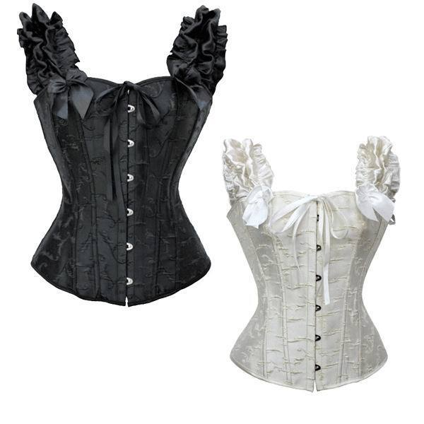 dc319bbc4e Lace Floral Steampunk Brocade Lace Up Boned Overbust Corsets Sexy Off  Shoulder Puff Sleeves Bustier Top White Black Corset