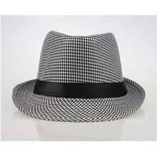 Fashion Unisex Plaid Fedora Hat With Band Short Bow Brim Trilby Jazz Hats Chic E