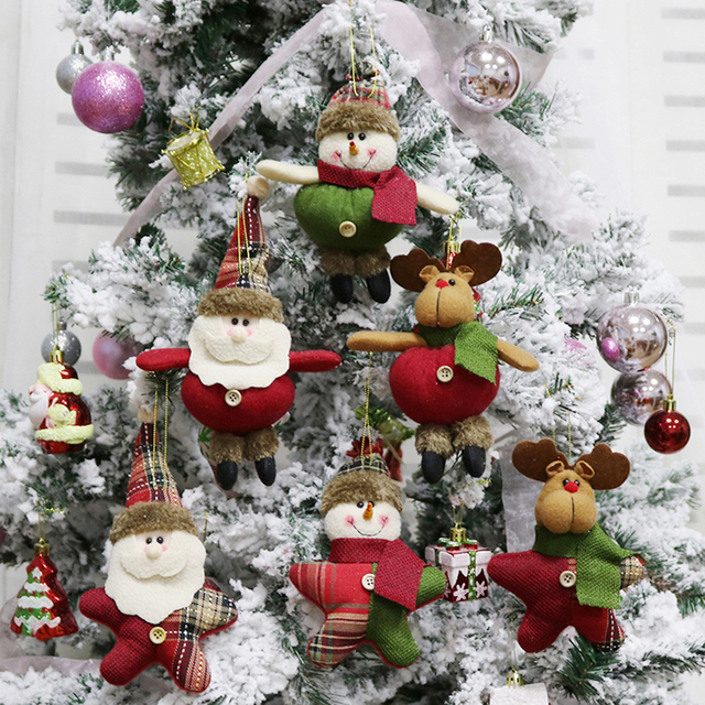 3pcsset merry christmas hanging dolls santa reindeer snowman toys christmas tree decorations ornaments for