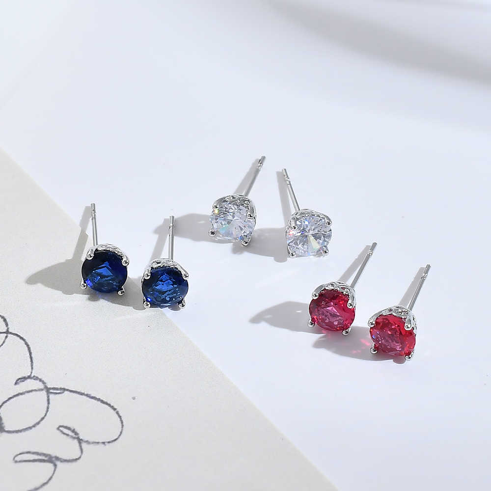 Crystal AAA Zircon Women Earring Cute Rhinestone Gold Silver Stud Earring Hypoallergenic Pierced Ear Oorbellen Fashion Jewelry