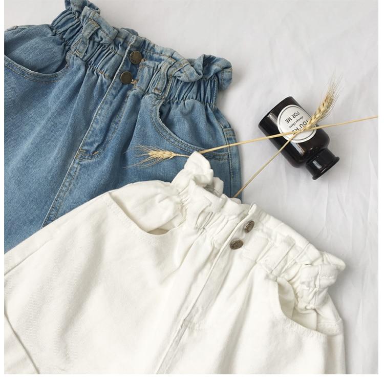 Roll Up Hem Elastic Waist Pocket Blue White Jeans Female 28