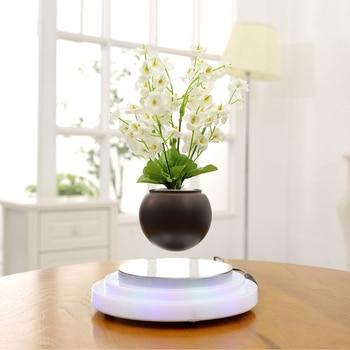 Pot de fleur Décor Magnétique Flottant Fleur Lévitation Air Bonsaï Pot de Fleurs avec LED Lumière De Base pour Home Office Décoration