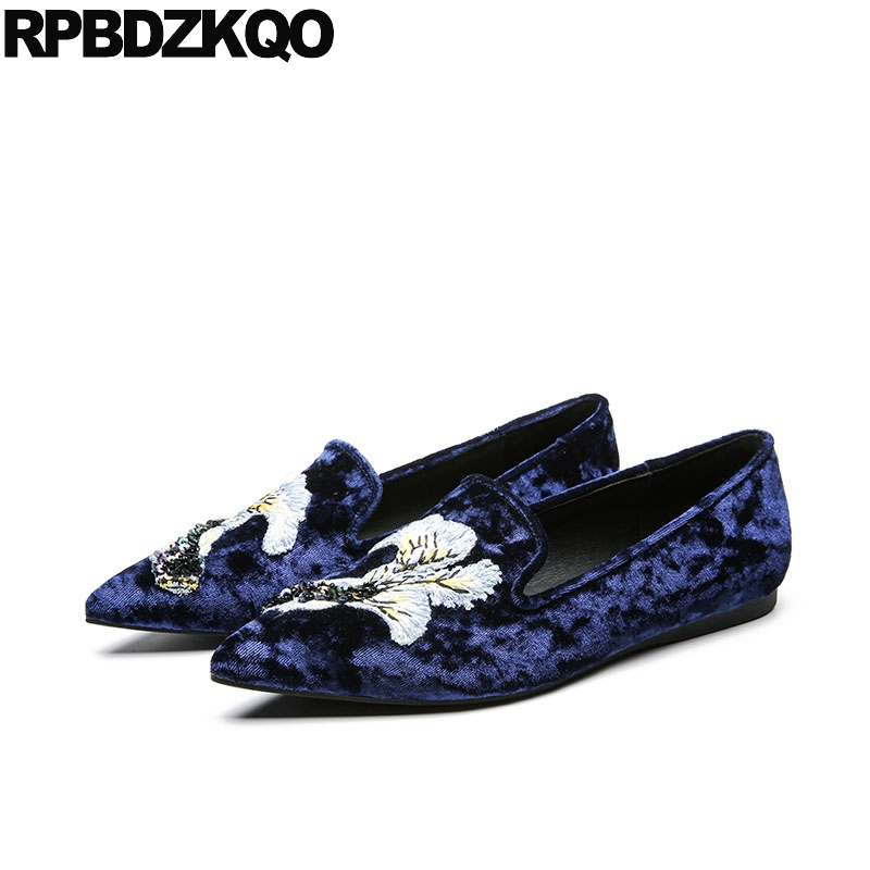 Blue Women Autumn Spring Bling Sequins Single Shoes Denim Flower Handmade Embroidery Velvet Flats Embroidered Party Loafers clearance sale spring chinese style flower embroidery handmade women shoes embroidered fashion flats shoes for ladies 4 colors