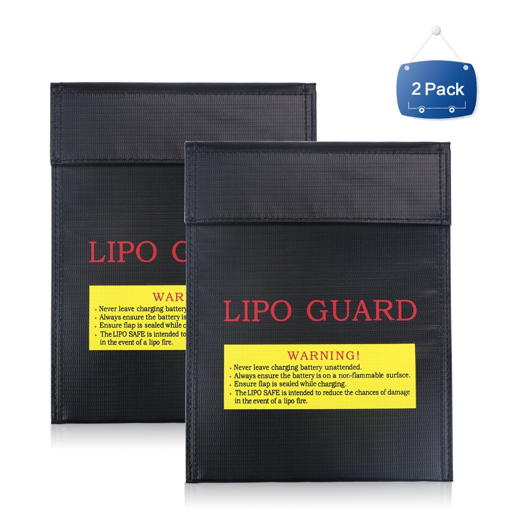 NASTIMA 2Packs Fireproof & Explosion proof Lipo Battery Safety Guard Bag for Charge & Storage, Black, 23 18cm