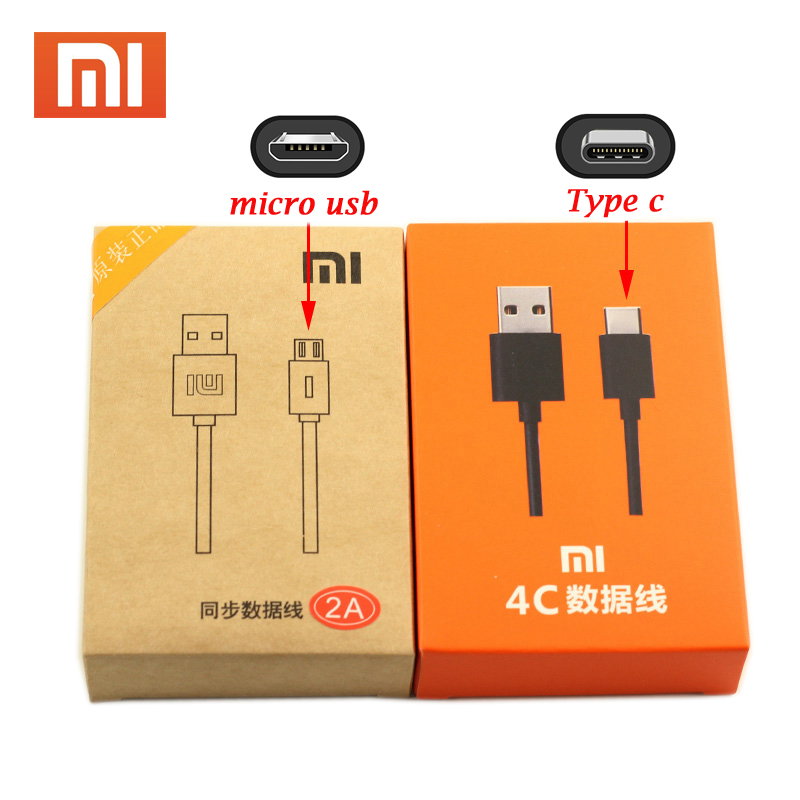 Original Xiaomi USB Cable Micro USB Type C Cable 2A Fast Charge For XIAOMI Mi 9 8 SE 6 6X A1 Mix 2 Mix2S 5 5C 5S Plus Redmi 4X