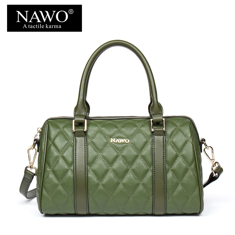 NAWO Boston Women Bag Cow Genuine Leather Women Handbag New Designer Tote Bag Luxury Brand Shoulder Bag Plaid Crossbody Bags Sac women genuine leather handbag fashion trend shoulder bag office lady tot high quality designer luxury brand boston crossbody bag