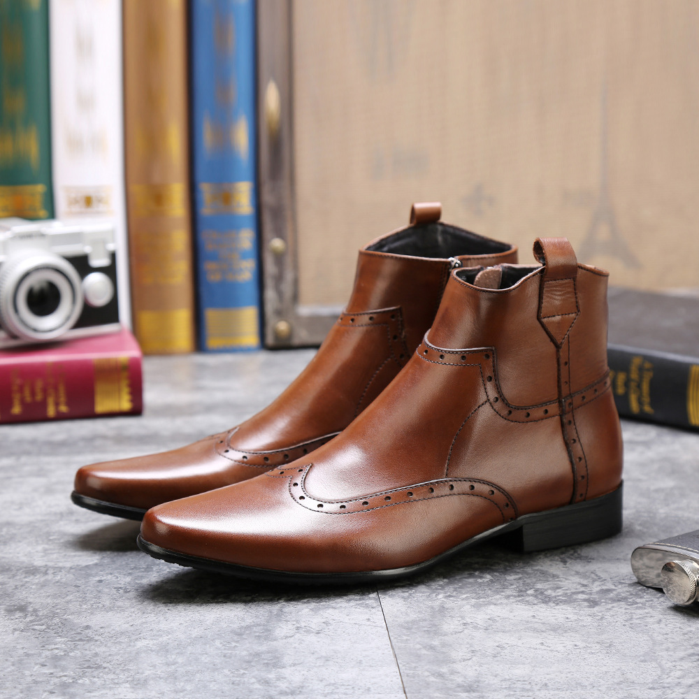 Luxury Brand Fashion New Vintage Charm Mens Boots Genuine Leather Handmade Handsome Bullock Carved Men Dress Boots in Chelsea Boots from Shoes