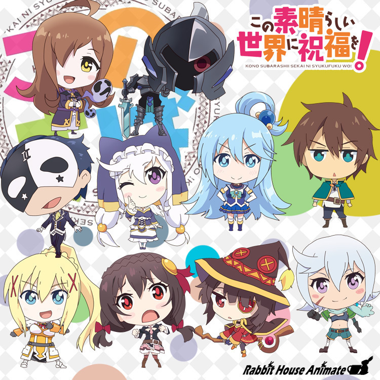 Anime KonoSuba God's Blessing On This Wonderful World! Megumin Aqua Darkness  Keychain Cosplay Acrylic Figure Keyring Pendant