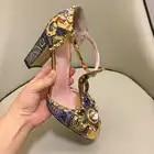 Macytino luxo artesanal pérolas bombas femininas 10 cm retro bordado bloco saltos t cinta mary janes vestido feminino sapatos dedo do pé redondo - 2