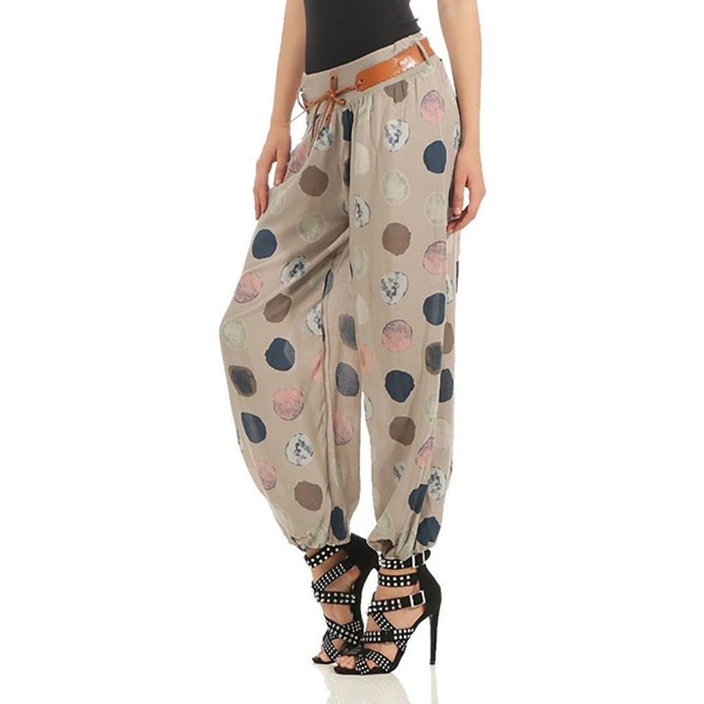 Women Long  Leisure Polka Dots Loose Elastic Middle-Waist Trousers Wide Leg Pants