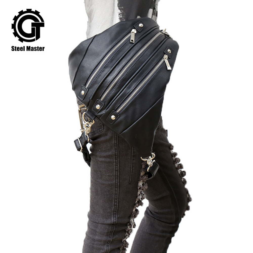 Womens Steampunk Bags Backpack Steam Punk Bags Pockets Gothic Female Waist Bags 2018 New Rock Triangle Bags With Zipper 2017 new steam punk punk street gothic personality hole slim slim female stretch leggings