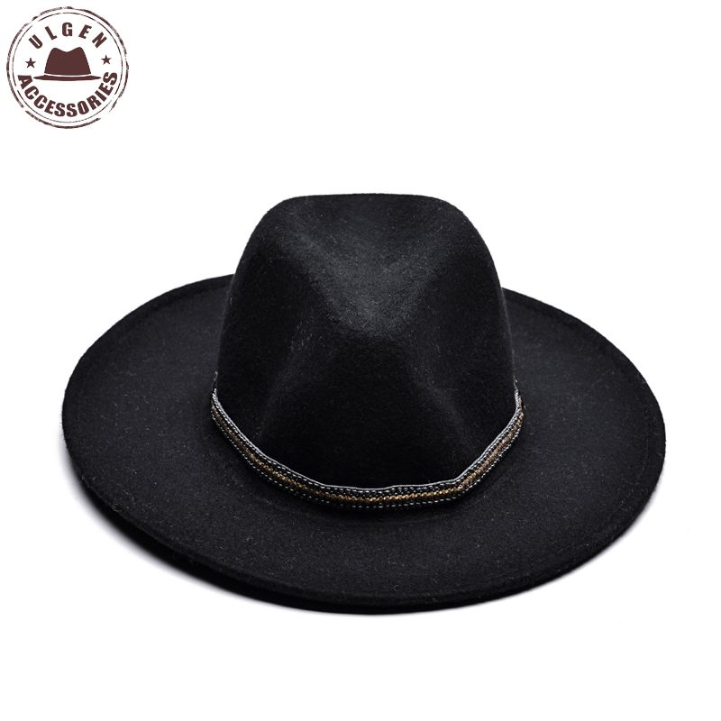 ULGEN Vintage Winter wool hat mens black fedora hat womens Jazz wool panama  hats large brim fedoras with gold band-in Fedoras from Apparel Accessories  on ... e6d5b757a4b
