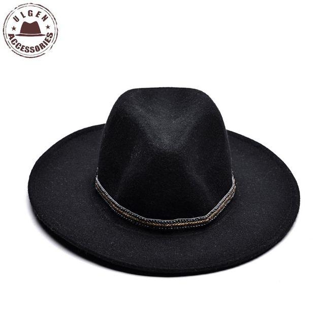 ULGEN Vintage Winter wool hat mens black fedora hat womens Jazz wool panama  hats large brim fedoras with gold band b132045d930