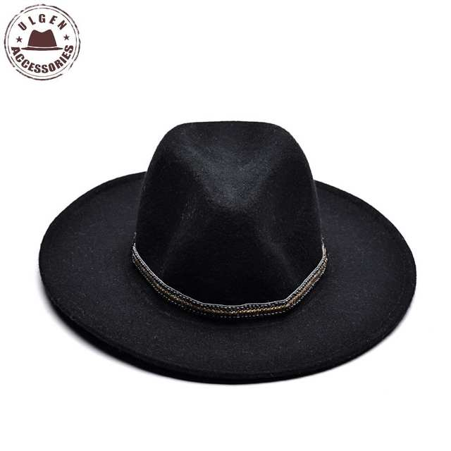 620f97ea4c98c placeholder ULGEN Vintage Winter wool hat mens black fedora hat womens Jazz  wool panama hats large brim
