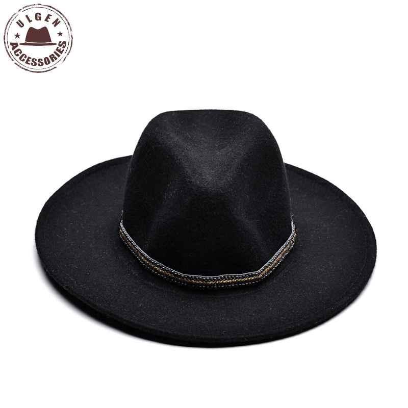 a7aa4d98a6e ULGEN Vintage Winter wool hat mens black fedora hat womens Jazz wool panama  hats large brim