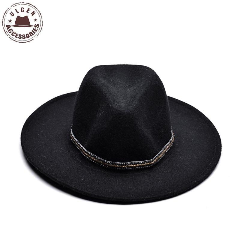 ULGEN Vintage Winter wool hat mens black <font><b>fedora</b></font> hat womens Jazz wool panama hats large brim <font><b>fedoras</b></font> with gold band