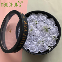 Round Shape Rose Flower Gift Box with Transparent Window Florist Packing Wedding Anniversary Souvenirs Included 20Pcs Silk Roses