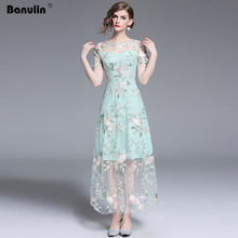 Banulin 2019 New Runway Sexy Elegant Flower Floral A-line Green Dress Women Retro Mesh Embroidery OL Dresses Vestidos robes