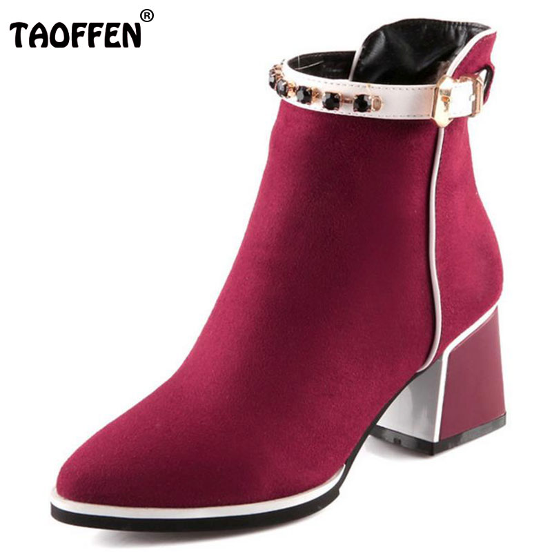 TAOFFEN women high heel half short ankle boots martin autumn winter botas buckle footwear heels boot shoes P19994 size 34-39 taoffen free shipping ankle boots women fashion short boot winter footwear high heel shoes sexy snow warm p8710 eur size 34 39