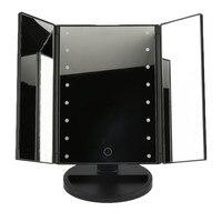 Xách tay Ba Gấp Bảng Đèn LED Sáng Gương Trang Điểm Mỹ Phẩm Có Thể Điều Chỉnh Tabletop Countertop 16 LED chạm vào đèn cảm biến