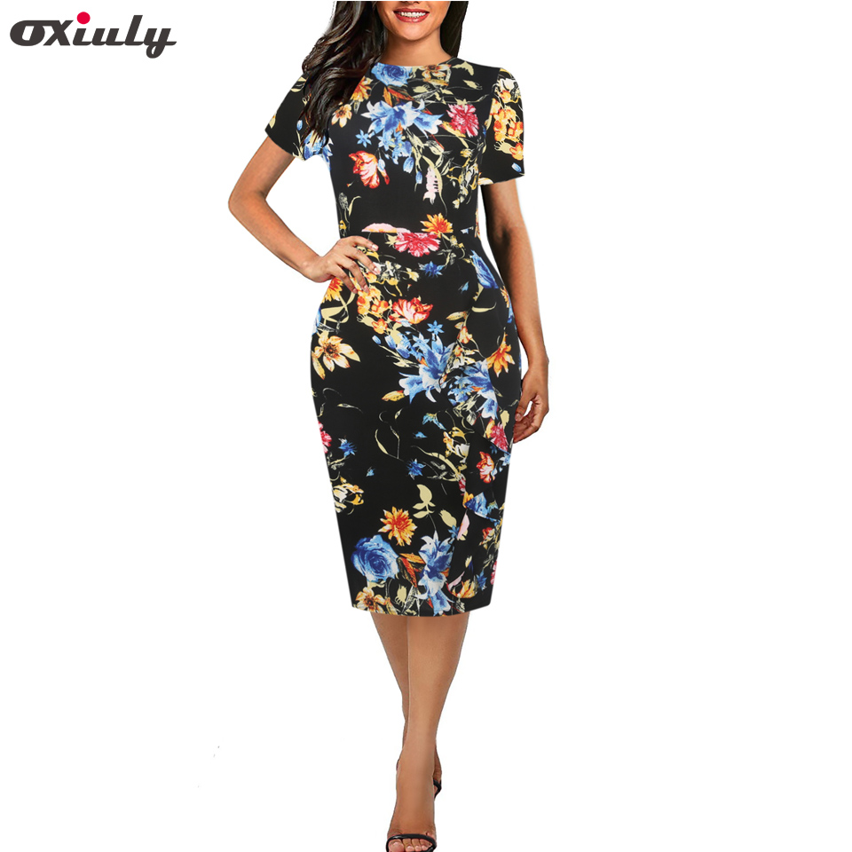 Oxiuly 2018 New Multicolor Ruffle Print Pencil Dress Scoop Neck Short Sleeve Sheath Dress Summer Female Wear to Work Dress in Dresses from Women 39 s Clothing