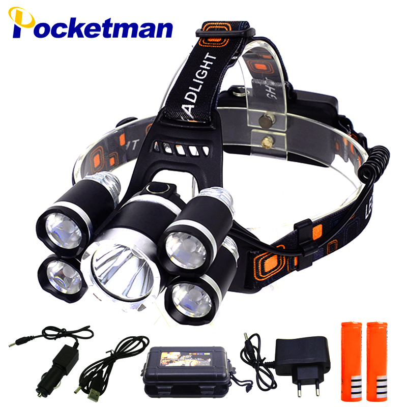 6000 Lumens Headlamp 5*LED T6 Headlight 4mode Headlamp Rechargeable Head Lamp Flashlight+2*18650 Battery+AC/DC Charger