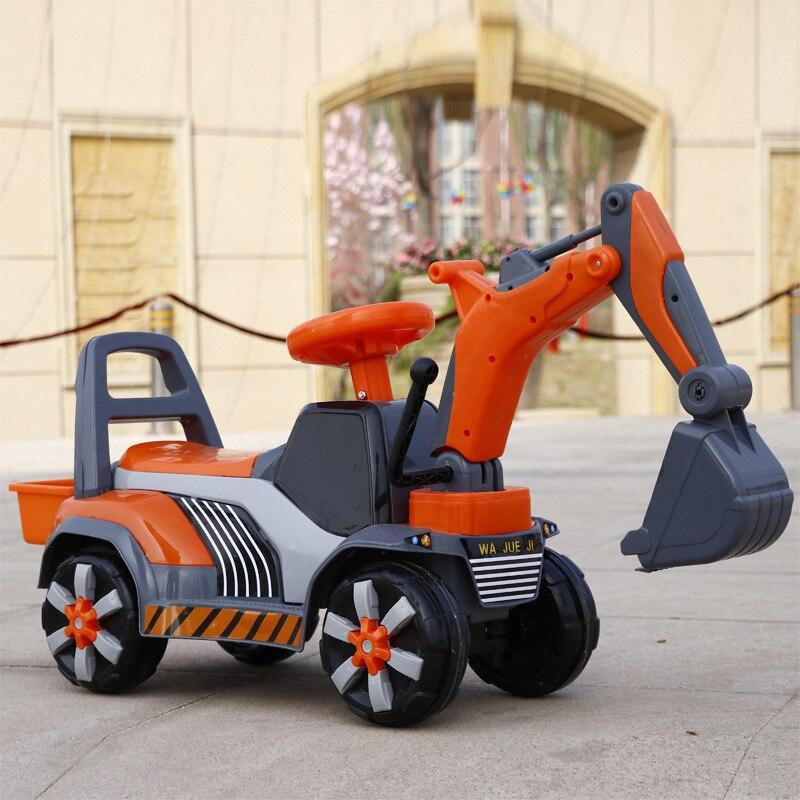 O Envio gratuito de Novas Crianças Podem Sentar Passeio em Escavadeira Escavadeira De Brinquedo Grande Musical Elétrico De Quatro Rodas Carro Esportes Dos Miúdos