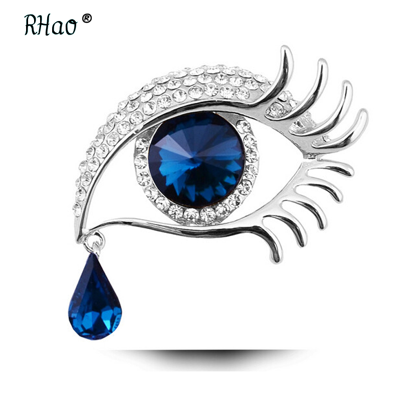 RHao Women Blue Glass Crystal Big Eye Brooches for wedding party jewelry brooches pins tears brooch for clothes accessories gift