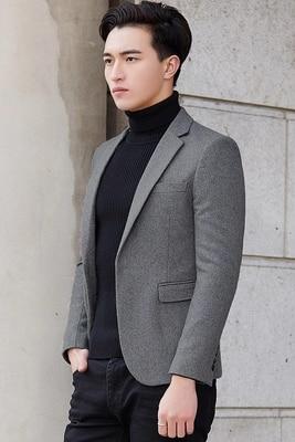 Nieuwe Mode Casual Mannen Blazer Wol Slim Fit Smart Stijl Pak Blazer Masculino Mannelijke Past Jasje Blazers Mannen M 4XL - 6