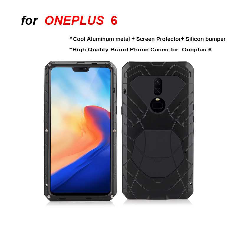 Oneplus 6 case Feitenn Brand Aluminum metal Glass Screen protector Silicon bumper Shockproof heavy duty case