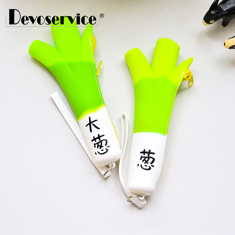 Novelty Green Onion Silicone Waterproof Pencil Case Stationery Storage Organizer Bag School Office Supply Escolar