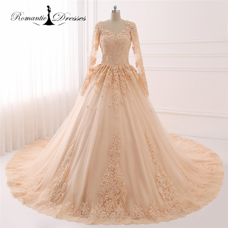 Real Maine Weddings 2017: 2017 100% Real Photos Jewel Neck Long Sleeve Ball Gown