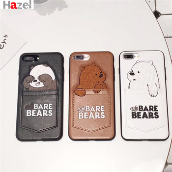 3D Cartoon Embroidery Leather Case for iPhone X 7 7Plus 8 8Plus 6 6s Plus Cute Pocket Bare Bears Back Cover Brown black white cartoon