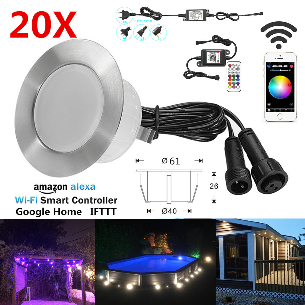 20pcs/set RGB/RGBW 61mm WIFI APP Music Controller Timer Dimmer IP67 Stair Step LED Deck Rail Soffit Lights Driveway Terrace Lamp
