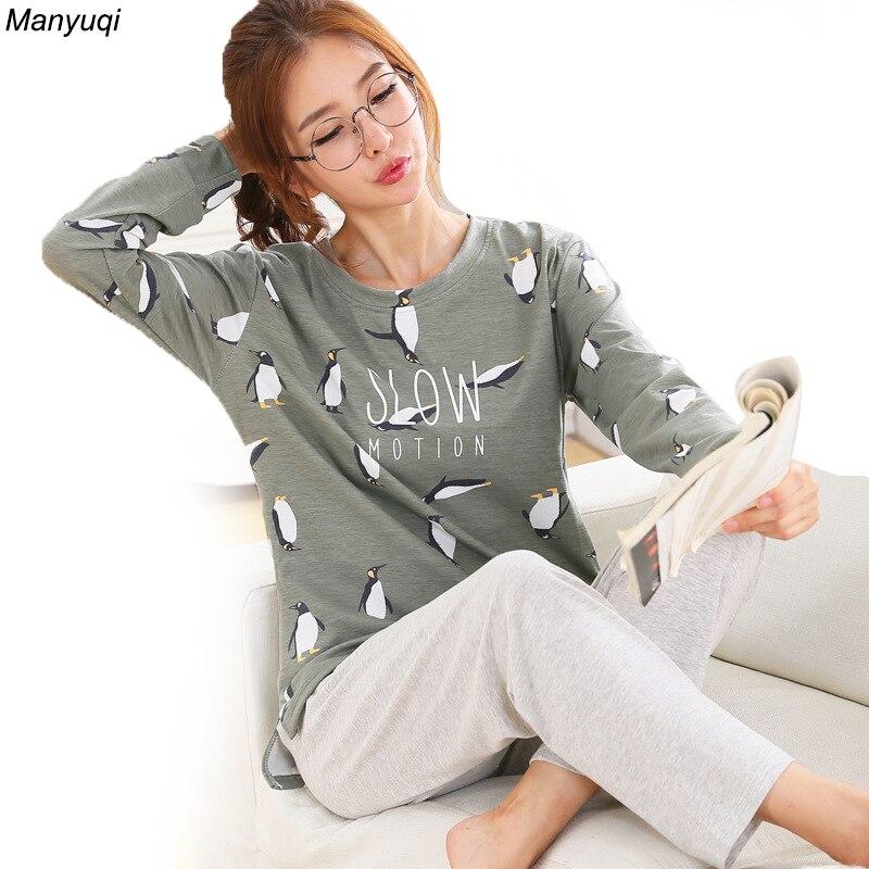 Autumn   pajamas   women cartoon long sleeve round neck home suit simple style cute   pajamas     set   female