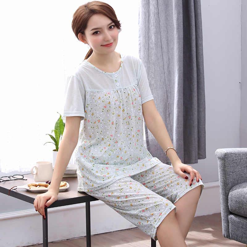 b6e94ee64d Pajamas Women s Cotton Short Sleeved Calf-length Bottom Summer Shorts Home  Clothes Pyjama Femme Floral