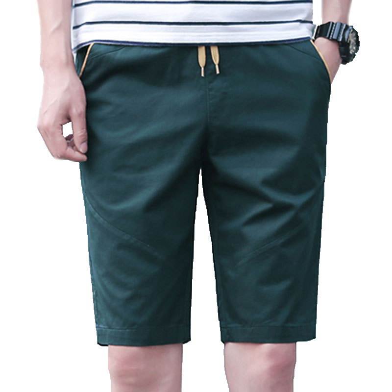 Large Size Mens Shorts Classic Solid Color Mens Shorts Comfort Elastic Waist Khaki Darkblue Lightblue Red Green Black
