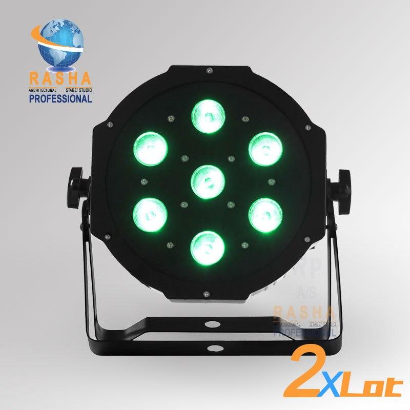ФОТО 2XLOT  Air Post Freeshipping HOT SALE 7pcs*12W Quad LEDs (4in1 RGBA/RGBW) LED Mega Quadpar Profile, DMX Par Can,RASHA PAR LIGHT