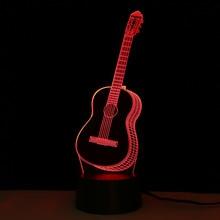 Творческий инструмент гитара Форма свет в ночь детей 3D Luminaria лампы для USB ноутбука Сенсор светодиодное освещение Спальня Декор