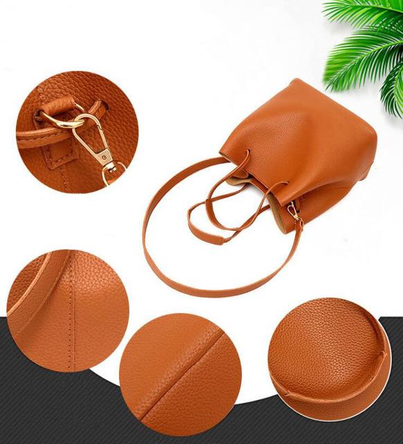 SMOOZA 4ps/set Women's Casual Leather Totes Handbag Shoulder Bag Ladies Messenger Crossbody Bags Composite Bag Clutch Wallets