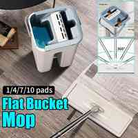 Magic Cleaning Mops Free Hand Spin Cleaning Microfiber Mop With Bucket Flat Squeeze Spray Mop Home Kitchen Floor Clean