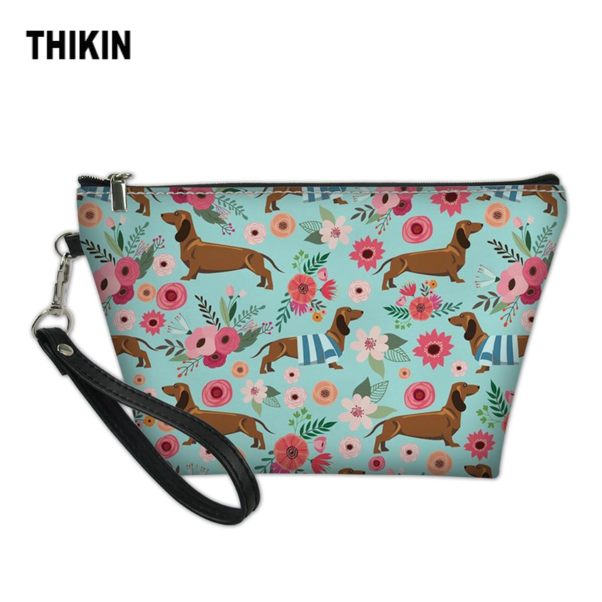 THIKIN Fashion Dachshund Dogs Print Women Makeup Bags Toiletries Organizer Cosmetic Bag Female Cases Custom Girls Make Up Box