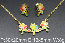 Новая Мода Ювелирные Изделия из нержавеющей стали симпатичные смешанные цвета ожерелье + кулон + Серьги Наборы для Девочек SFAAEJBF(China (Mainland))