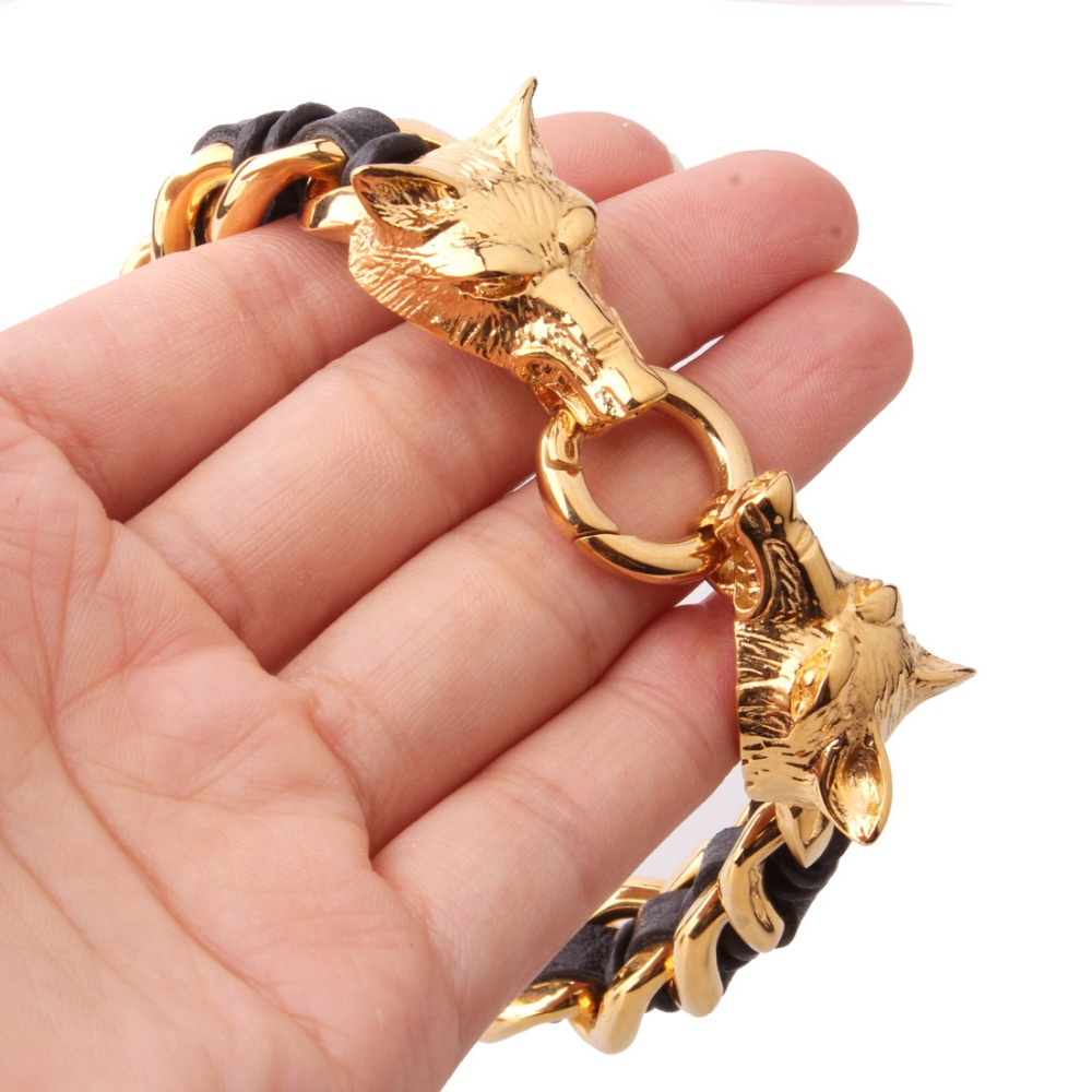 16mm Hip-hop 316L Stainless Steel Gold Color Double Wolf Head Black Leather Wristband Men's Bracelet Bangle 8.66″ Christmas Gift