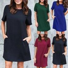 Women Dresses Spring Summer Dress Casual Solid Short Sleeveless Boyfriend Pocket Plain Female Home Vestidos