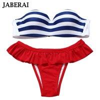 2016 New Women Push Up Bandeau Bikini Set Sexy Striped Strapless Swimwear Ruffle Red Pants Bathing