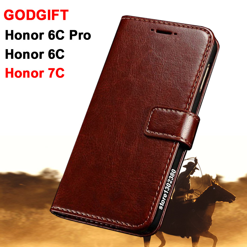 Godgift Huawei Honor 6c Pro case cover leather Crazy horse case for Huawei Honor 6 c pro case Royal wallet Huawei Honor 7C case ...