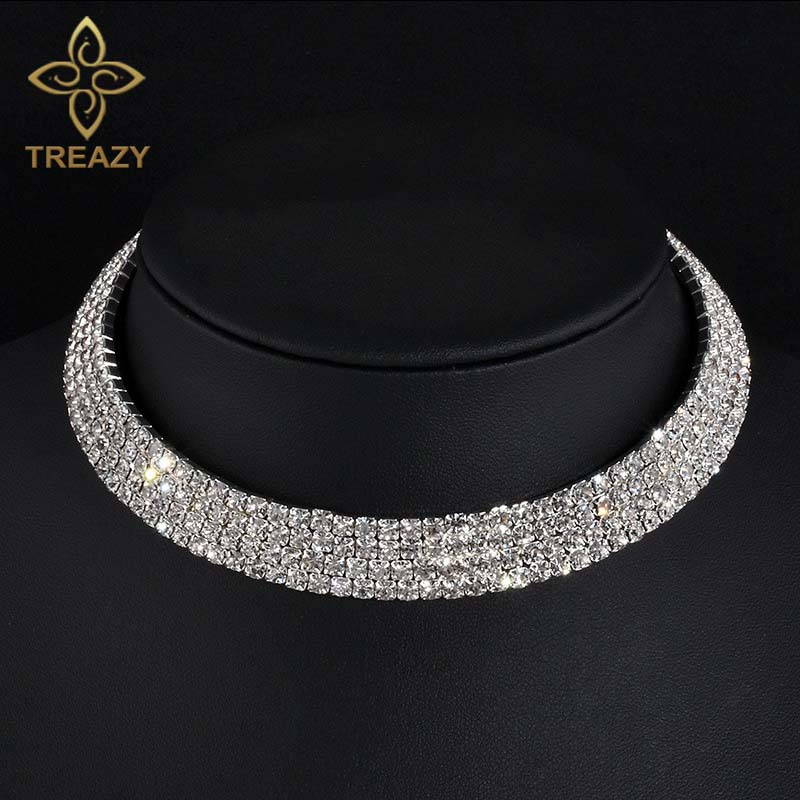 TREAZY Sparkling Silver Color Crystal Collar Chain Choker Necklace Bridal Wedding Party Diamante Rhinestone Choker Jewelry Gifts