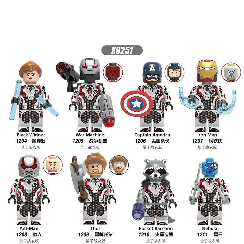 Single Captain Marvel Avengers 4 Figures Endgame Thanos Spiderman Antman Thor Iron Man War Machine Building Blocks Bricks Toys